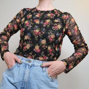Vintage 90s black floral sheer sleeve nylon top M